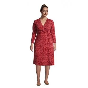 Gemustertes Jersey-Wickelkleid mit 3/4-Ärmeln in großen Größen, Damen, Größe: 56-58 Plusgrößen, Rot, by Lands' End, Nautisch Rot Floral