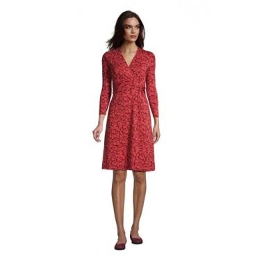 Gemustertes Jersey-Wickelkleid mit 3/4-Ärmeln, Damen, Größe: L Normal, Rot, by Lands' End, Nautisch Rot Floral