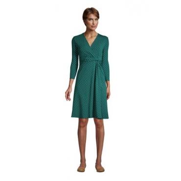 Gemustertes Jersey-Wickelkleid mit 3/4-Ärmeln, Damen, Größe: L Normal, Grün, by Lands' End, Jade Smaragd Gepunktet