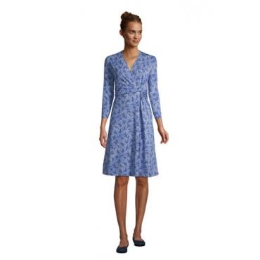 Gemustertes Jersey-Wickelkleid mit 3/4-Ärmeln, Damen, Größe: L Normal, Blau, by Lands' End, Kobaltblau Traum