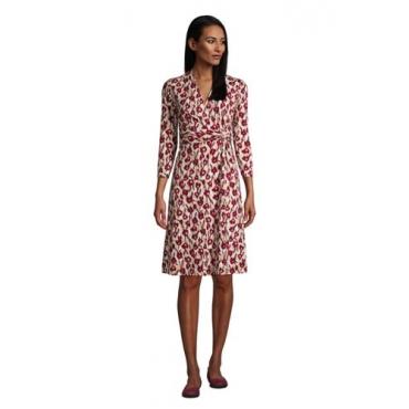 Gemustertes Jersey-Wickelkleid mit 3/4-Ärmeln, Damen, Größe: L Normal, Braun, by Lands' End, Hell Pecan Floral Ikat