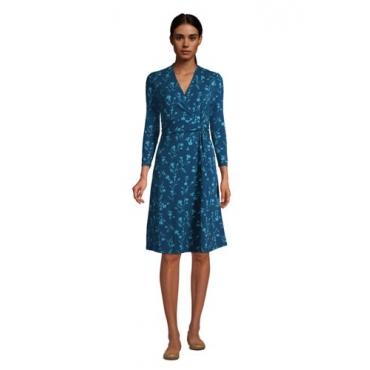 Gemustertes Jersey-Wickelkleid mit 3/4-Ärmeln, Damen, Größe: 48-50 Normal, Blau, by Lands' End, Ägäis Floral