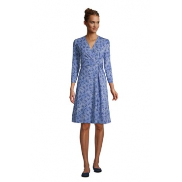 Gemustertes Jersey-Wickelkleid mit 3/4-Ärmeln in Petite-Größe, Damen, Größe: L Petite, Blau, by Lands' End, Kobaltblau Traum