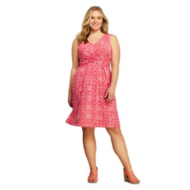 Gemustertes Jerseykleid mit Wickeloberteil  in großen Größen