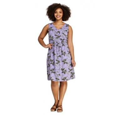 Gemustertes Jerseykleid mit Wickeloberteil in großen Größen, Damen, Größe: 52-54 Plusgrößen, Lila, by Lands' End, Hell Amethyst Floral