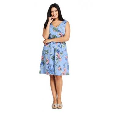 Gemustertes Jerseykleid mit Wickeloberteil in großen Größen, Damen, Größe: 56-58 Plusgrößen, Blau, by Lands' End, Mildes Blau Floral