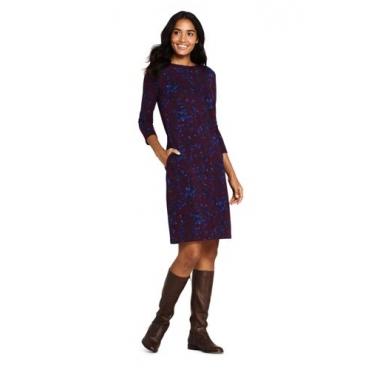Gemustertes Ponté-Kleid mit 3/4-Ärmeln