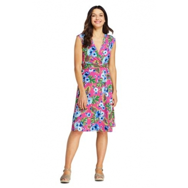 Gemustertes Wickelkleid aus Jersey, Damen, Größe: L Normal, Pink, by Lands' End, Pink Phlox Hibiskus