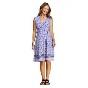 Gemustertes Wickelkleid aus Jersey, Damen, Größe: L Normal, Lila, by Lands' End, Lavendel Wolke Bordüre