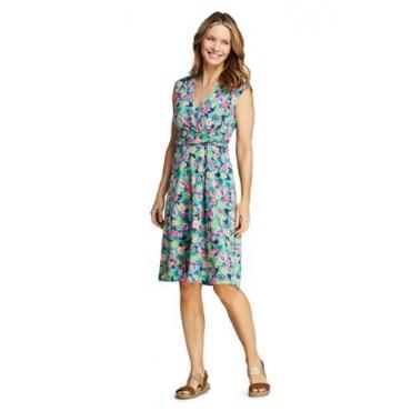 Gemustertes Wickelkleid aus Jersey, Damen, Größe: L Normal, Grün, by Lands' End, Antik Jade Palme Floral