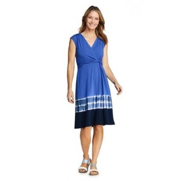 Gemustertes Wickelkleid aus Jersey, Damen, Größe: L Normal, Blau, by Lands' End, Cabana Blau Batik
