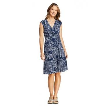 Gemustertes Wickelkleid aus Jersey, Damen, Größe: 48-50 Normal, Blau, by Lands' End, Tiefsee Patchwork