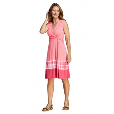 Gemustertes Wickelkleid aus Jersey in Petite-Größe, Damen, Größe: L Petite, Rot, by Lands' End, Rote Rose Batik