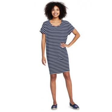 Gestreiftes Jersey-Shirtkleid aus Baumwolle/Modal