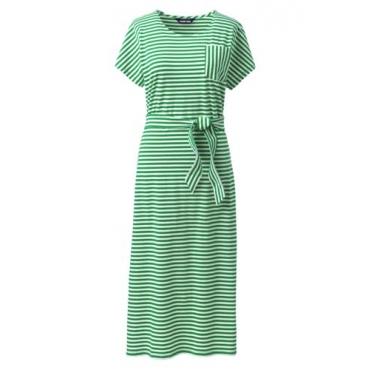 Gestreiftes Jersey-Shirtkleid in Midilänge in großen Größen, Damen, Größe: 48-50 Plusgrößen, Grün, by Lands' End, Leuchtend Farn Streifen