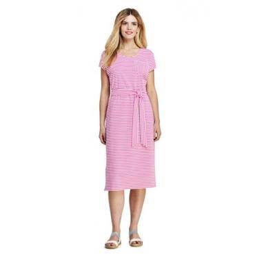 Gestreiftes Jersey-Shirtkleid in Midilänge, Damen, Größe: L Normal, Pink, by Lands' End, Pink Phlox Gestreift