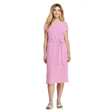 Gestreiftes Jersey-Shirtkleid in Midilänge, Damen, Größe: 48-50 Normal, Pink, by Lands' End, Pink Phlox Gestreift