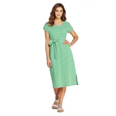 Gestreiftes Jersey-Shirtkleid in Midilänge, Damen, Größe: 48-50 Normal, Grün, by Lands' End, Leuchtend Farn Streifen