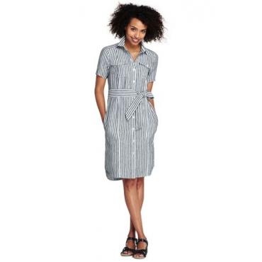 Gestreiftes Leinen-Hemdblusenkleid im Worker-Stil