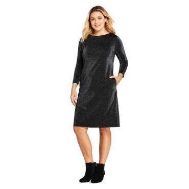 Glitzerndes Ponté-Kleid mit 3/4-Ärmeln in großen Größen
