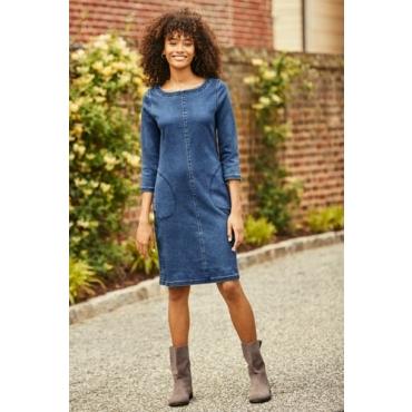Jeanskleid aus Soft-Denim mit Ziernähten in großen Größen