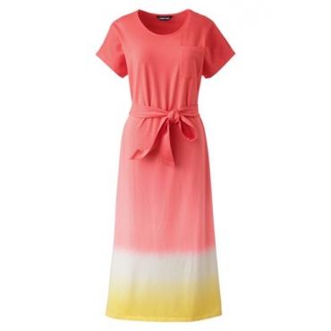 Jersey-Shirtkleid in Midilänge in großen Größen, Damen, Größe: 52-54 Plusgrößen, Orange, by Lands' End, Sunset Koralle