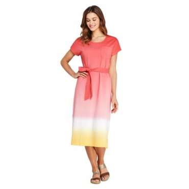 Jersey-Shirtkleid in Midilänge, Damen, Größe: L Normal, Orange, by Lands' End, Sunset Koralle