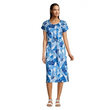 Jersey-Shirtkleid in Midilänge, Damen, Größe: L Normal, Blau, by Lands' End, Soft Seeblau Tropenpalme