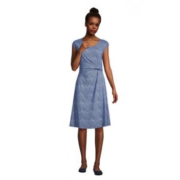 Jersey-Wickelkleid, Damen, Größe: 48-50 Normal, Blau, by Lands' End, Classic Cobalt Welle Geo