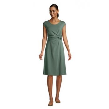 Jersey-Wickelkleid, Damen, Größe: 48-50 Normal, Grün, by Lands' End, Washed Olivgrün