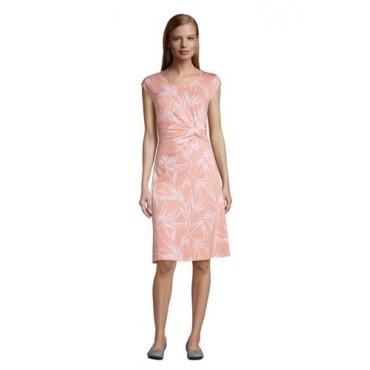 Jersey-Wickelkleid, Damen, Größe: 48-50 Normal, Orange, by Lands' End, Zart Pfirsich Gestreift Palme