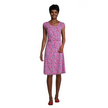 Jersey-Wickelkleid, Damen, Größe: L Normal, Pink, by Lands' End, Leuchtend Magenta Sonnenschirm