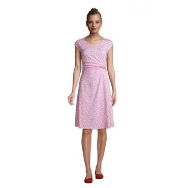 Jersey-Wickelkleid, Damen, Größe: L Normal, Pink, by Lands' End, Salt Washed Pink Segelboote