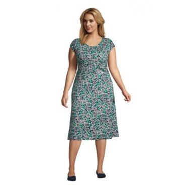 Jersey-Wickelkleid in großen Größen, Damen, Größe: 48-50 Plusgrößen, Blau, by Lands' End, Tiefsee Pünktchen Floral