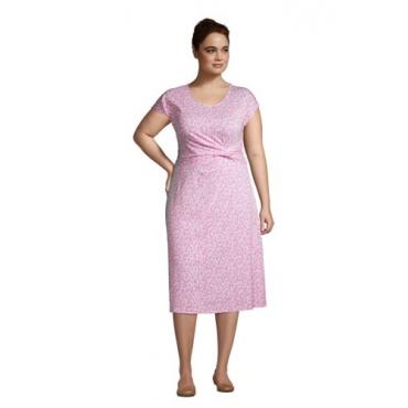 Jersey-Wickelkleid in großen Größen, Damen, Größe: 48-50 Plusgrößen, Pink, by Lands' End, Salt Washed Pink Segelboote