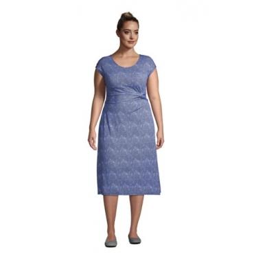 Jersey-Wickelkleid in großen Größen, Damen, Größe: 52-54 Plusgrößen, Blau, by Lands' End, Classic Cobalt Welle Geo