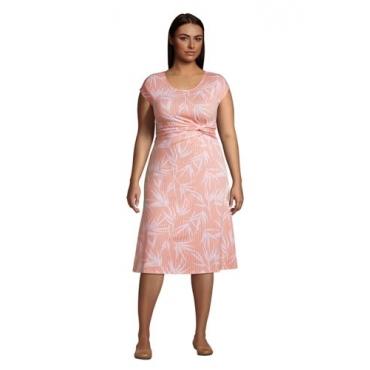 Jersey-Wickelkleid in großen Größen, Damen, Größe: 52-54 Plusgrößen, Orange, by Lands' End, Zart Pfirsich Gestreift Palme