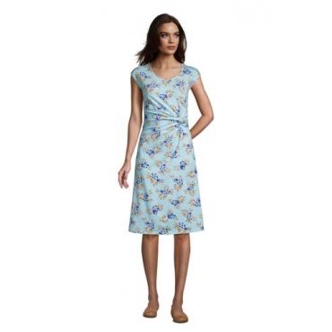 Jersey-Wickelkleid in Petite-Größe, Damen, Größe: L Petite, Blau, by Lands' End, Glänzend Blau Hibiskus Floral