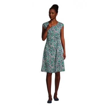Jersey-Wickelkleid in Petite-Größe, Damen, Größe: L Petite, Blau, by Lands' End, Tiefsee Pünktchen Floral