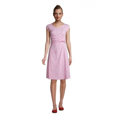 Jersey-Wickelkleid in Petite-Größe, Damen, Größe: L Petite, Pink, by Lands' End, Salt Washed Pink Segelboote