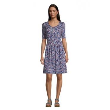 Jerseykleid mit halblangen Ärmeln, Damen, Größe: L Normal, Blau, by Lands' End, Tiefsee Blütenblatt Floral