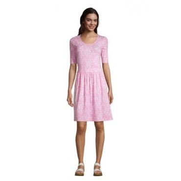 Jerseykleid mit halblangen Ärmeln, Damen, Größe: L Normal, Pink, by Lands' End, Salt Washed Pink Pünktchen Floral