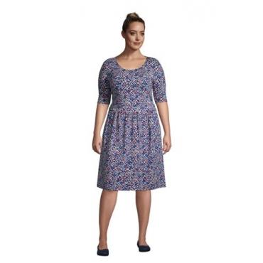 Jerseykleid mit halblangen Ärmeln in großen Größen, Damen, Größe: 48-50 Plusgrößen, Blau, by Lands' End, Tiefsee Blütenblatt Floral