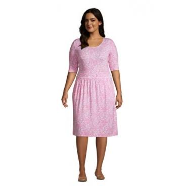 Jerseykleid mit halblangen Ärmeln in großen Größen, Damen, Größe: 48-50 Plusgrößen, Pink, by Lands' End, Salt Washed Pink Pünktchen Floral