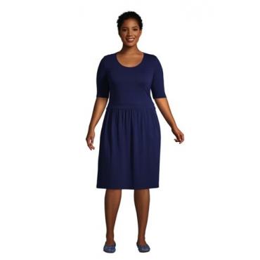 Jerseykleid mit halblangen Ärmeln in großen Größen, Damen, Größe: 52-54 Plusgrößen, Blau, by Lands' End, Tiefsee