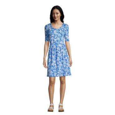 Jerseykleid mit halblangen Ärmeln in Petite-Größe, Damen, Größe: L Petite, Blau, by Lands' End, Classic Cobalt Floral Gingham