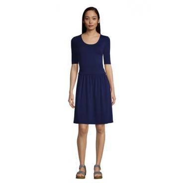 Jerseykleid mit halblangen Ärmeln in Petite-Größe, Damen, Größe: L Petite, Blau, by Lands' End, Tiefsee