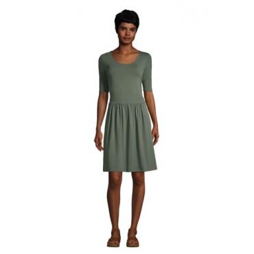 Jerseykleid mit halblangen Ärmeln in Petite-Größe, Damen, Größe: L Petite, Grün, by Lands' End, Washed Olivgrün