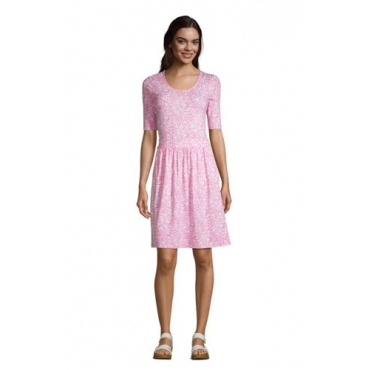 Jerseykleid mit halblangen Ärmeln in Petite-Größe, Damen, Größe: L Petite, Pink, by Lands' End, Salt Washed Pink Pünktchen Floral