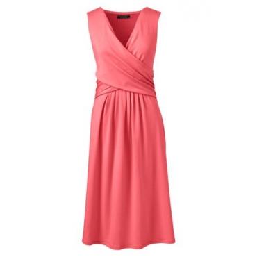 Jerseykleid mit Wickeloberteil in großen Größen, Damen, Größe: 56-58 Plusgrößen, Rot, by Lands' End, Hell Wassermelone Sorbet